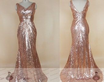 Rose Gold Sequin Bridesmaid Dress Mermaid Prom Dress Long 27fc704fa24b
