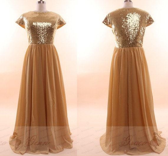 Gold Bridesmaid Dress Sequin Long Dress,Modest Sequin Prom Dress,Plus Size  Dresses For Women,Sparkle Evening Gown,Mother Of The Bride Dress