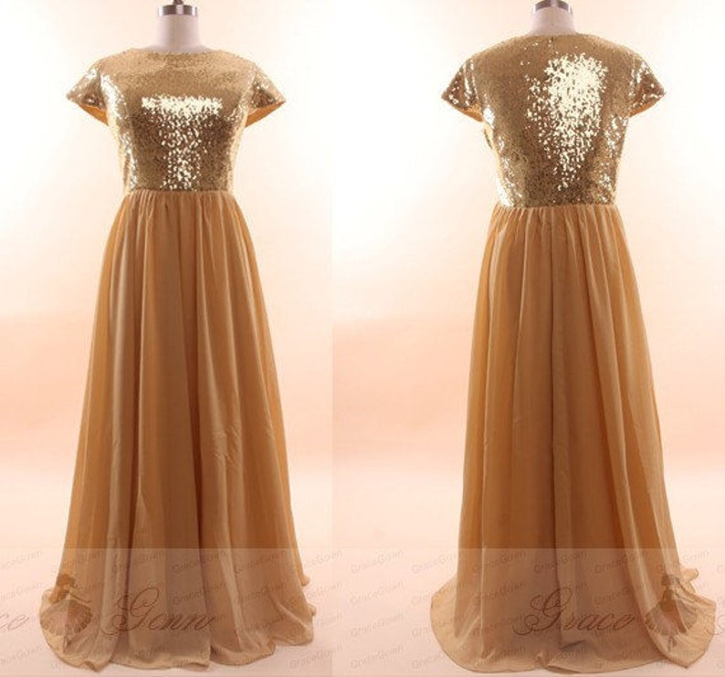 Gold Bridesmaid Dress Sequin Long DressModest Sequin Prom | Etsy