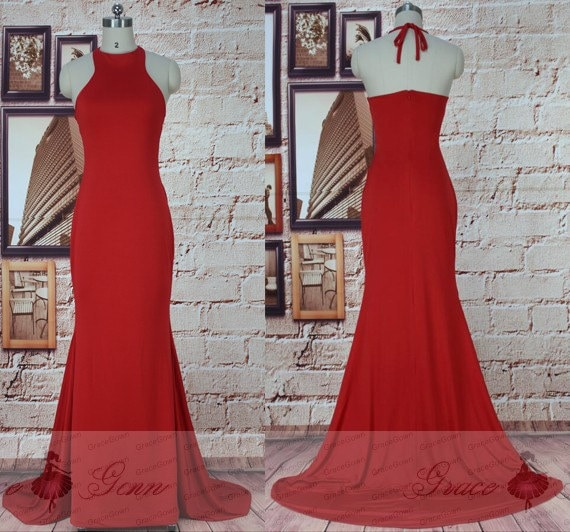 Red Prom Dresses Long High Neck Backless Evening Gownlong Etsy