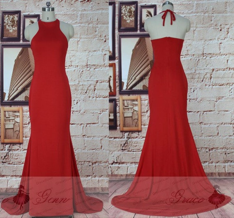 ea7b8f84e95 Red Prom Dresses Long High Neck Backless Evening GownLong