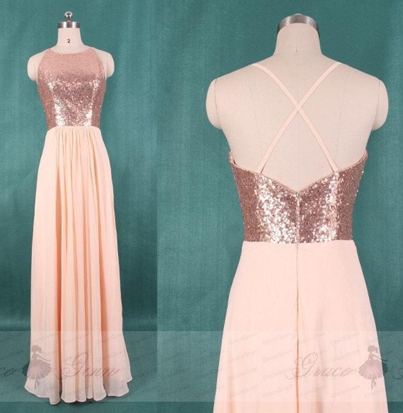 Bridesmaid Dress PeachBlush Chiffon Dress,BacklessWedding Dress,A Line Sequin Top Prom Dress,Custom Maxi Dress,Evening Dress Full Length