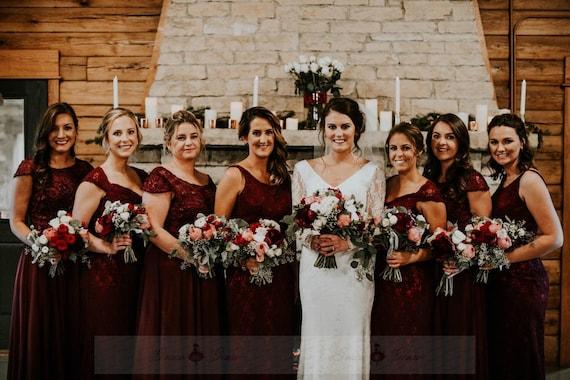 589504e0bbbf Mismatched Bridesmaid Dress Burgundy Prom DressCap Sleeve | Etsy