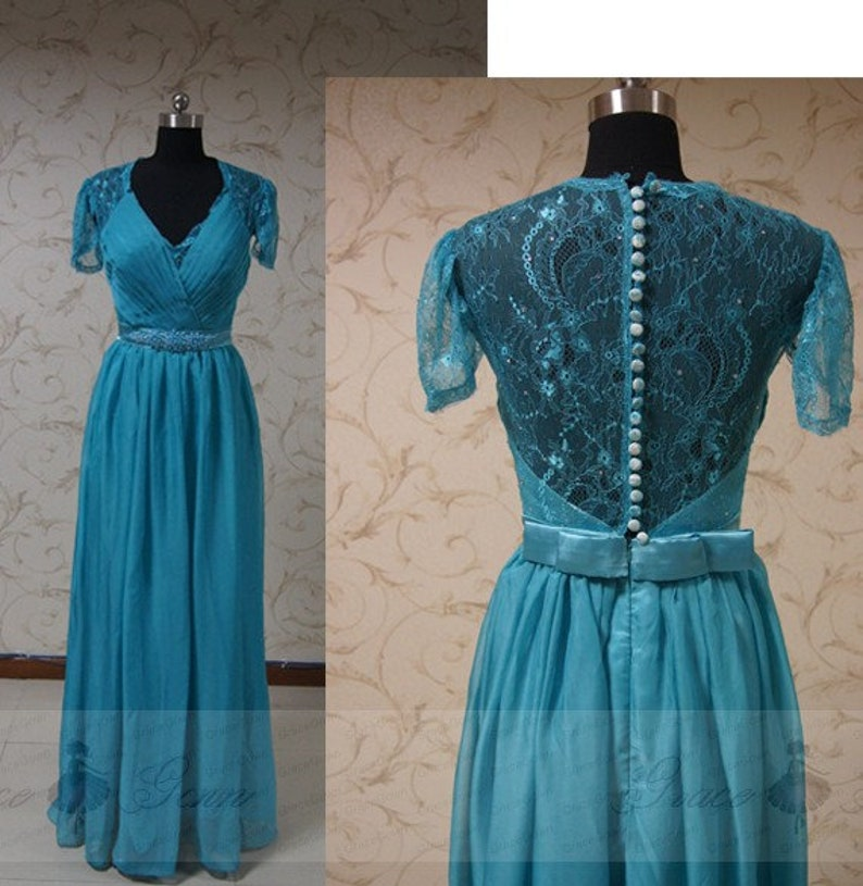 45f1ec17ae300 Teal Blue Bridesmaid DressCap Sleeve Illusion Back Wedding   Etsy