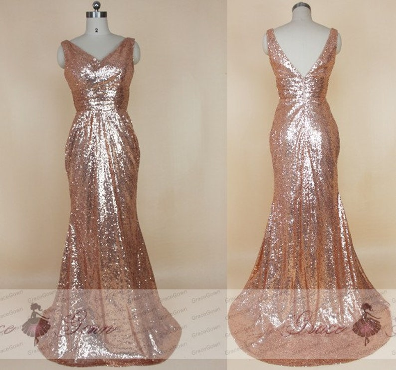 4446aa5152a Rose Gold Sequin Bridesmaid Dress Mermaid Prom Dress