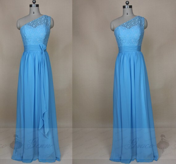 Bridesmaid Dress Blue Beltone Shoulder Lace Chiffon Prom Dresslight Blue Graduation Dresscocktail Dress Full Lengthevening Gowns