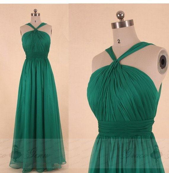 Emerald Green Bridesmaid Dress Chiffon Prom Dresshomecoming Etsy