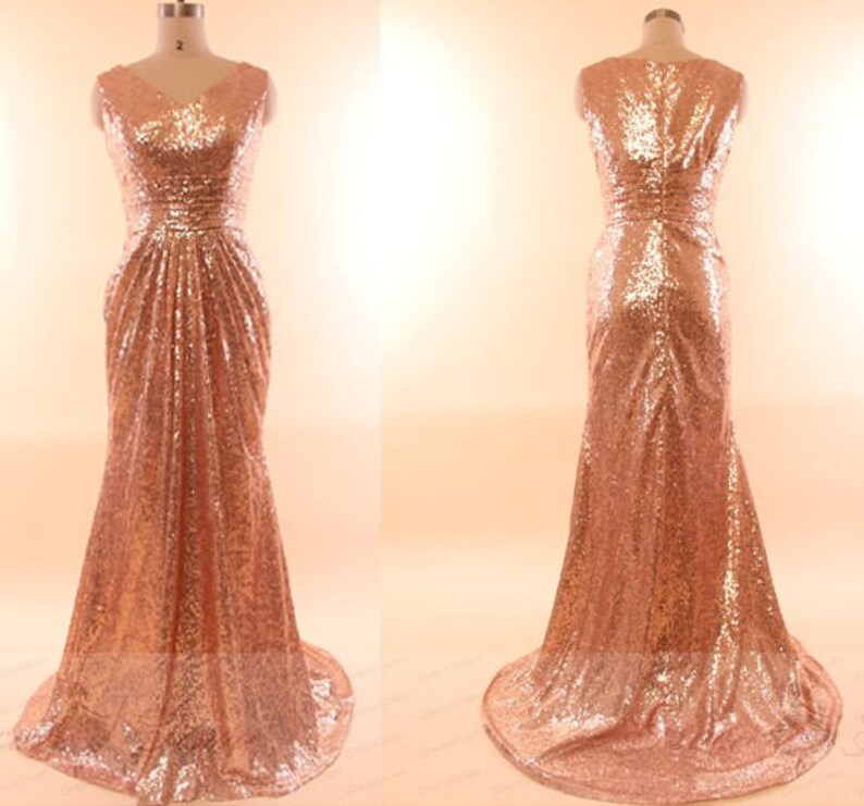 5fd3d8e5c68 Rose Gold Sequin Prom Dress LongModest Bridesmaid
