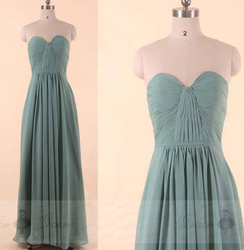b1f59db5d1f Bridesmaid Dress Dusty Green Chiffon Prom Dress