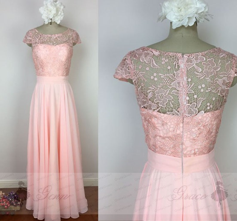f3972d056d7 Bridesmaid Dresses BlushLace Chiffon Wedding DressModest