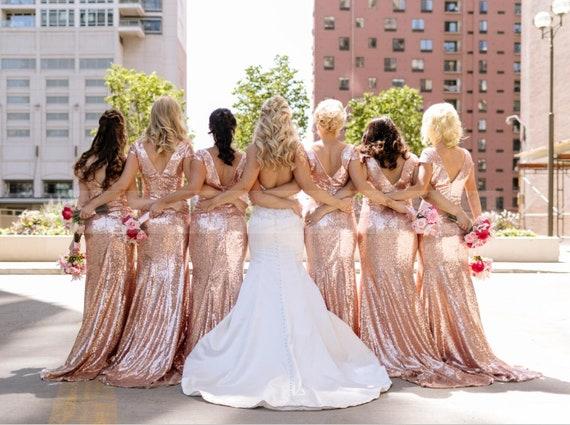 Rose Gold Bridesmaid Dress With Sleeve,Modest Bridesmaid Dress Sequin,Round  Neckline Wedding Dress,Custom Evening Gown Long,Prom Dress Maxi