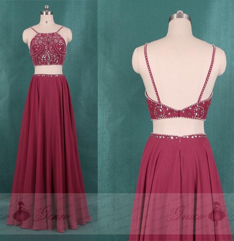 dbdb3439a3a 2 Piece Prom Dress Burgundy Chiffon DressHomecoming Dresses