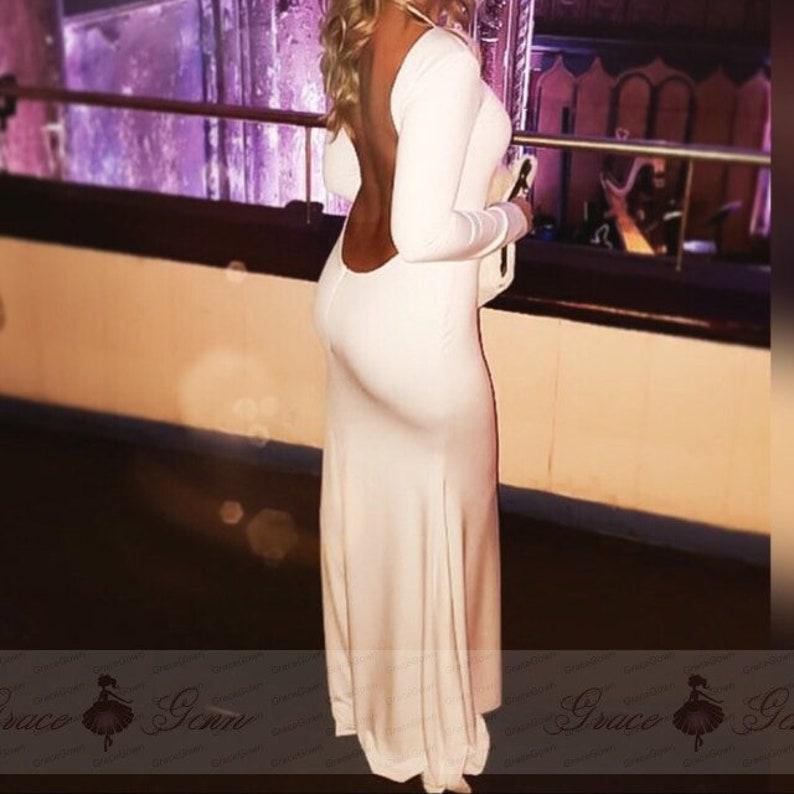 Backless Prom bianco abito da sposa collo alto Mermaid Abito  e271ac85611