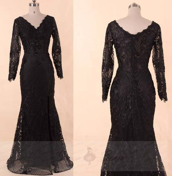 Prom Dress Long Sleeve Black Lace Wedding Dress High Slitsexy Sheer Top Maxi Dressevening Gown Sleevesmother Of The Bride Dress Vintage
