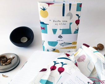 Useful kitchen gift for mom. Recipe set with wrap cook notebook and soft kitchen towel. Happy cooking recipes with tea towel for mothers day