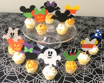 Halloween Mickey and Minnie Mouse cupcake toppers, Mickey and Minnie Halloween