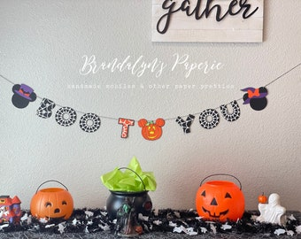 Halloween Boo to you Mickey and Minnie banner, Mickey mouse banner, Minnie Mouse Banner, Halloween banner