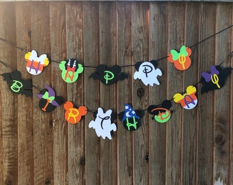 Mickey and Minnie Mouse inspired Halloween Happy Birthday Banner, monster mickey