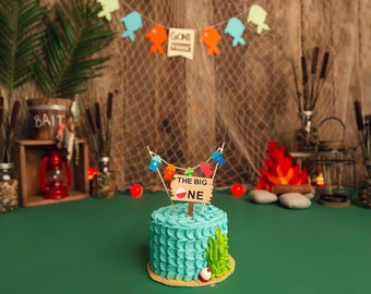 Gone Fishing banner, The big one, fish banner and cake topper