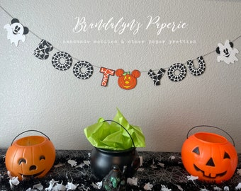 Boo to you Halloween Mickey and Minnie banner, Mickey mouse banner, Minnie Mouse Banner, Halloween banner