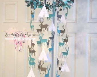 Teepee and Buck mobile CHOOSE YOUR COLORS, Stag, deer, tent mobile, nursery paper mobile , crib mobile, baby mobile wild one, brave little o