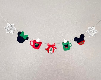 Mickey Peppermint Mocha banner, Mickey Mouse Latte Banner, Minnie Mouse Latte Banner, Winter Christmas banner