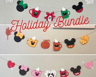 Mickey Holiday banners, Mickey Mouse THANKSGIVING PSL Banner, Mickey Mouse Christmas Banner, Mickey Mouse Valentine's banner
