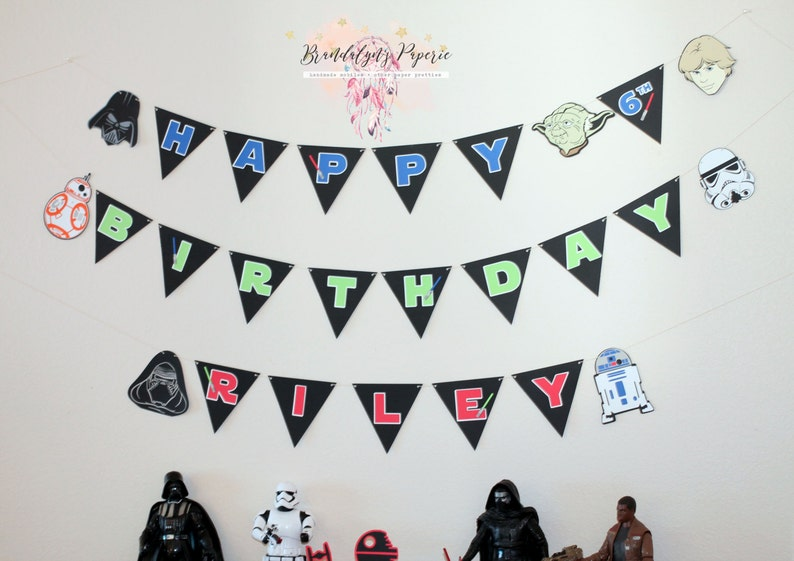 Star Wars Happy Birthday banner Star Wars birthday banner choose your characters