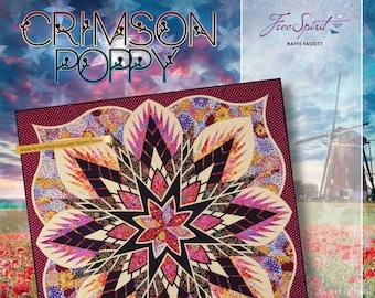 Crimson Poppy Foundation Paper Piecing Quilt Pattern by Judy Niemeyer NEW