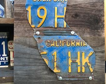 License plate art, California Sign, car tag art, tin anniversary