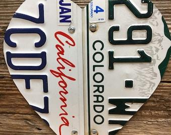 License plate heart, unique wedding, Valentine anniversary sign, Two license plates same/different Tin Anniversary, custom anniversary gift