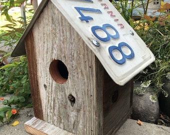 Unique State License Plate Rustic Birdhouse Decorative Wooden Birdhouse Rusted License Plate Garden or Home Decor Weathered Wooden Birdhouse