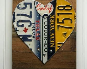 License plate heart, unique wedding, Valentine anniversary sign, three plates same/different Tin Anniversary, custom anniversary gift