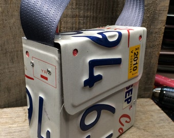 California license plate purse. one of a kind purse. unique shoulder bag, lunch box, carrying case