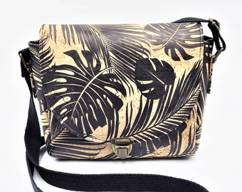 Cork Crossbody, Crossbody Bag, Saddlebag Crossbody, Handbag, Travel Bag, Shoulder Bag in Tropical Palm Leaf Cork Leather