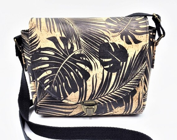 Cork Cross Body, Cross Body Bag, Saddlebag Cross Body, Handbag, Travel Bag, Small Shoulder Bag in Tropical Palm Leaf Cork Leather
