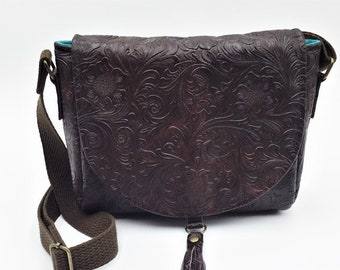 Cross Body Bag,  Saddlebag  Cross Body, Travel Bag, Small Shoulder Bag in Embossed Black Vinyl