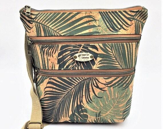 Cork Cross Body Bag, Triple Zipper Cross Body Bag, Travel Bag, Shoulder Bag, Tropical Handbag in Tropical Leaf Print Cork Leather
