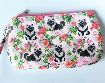 Keeshond Clutch, Wristlet, Clutch Purse,  Dog Clutch, Zippered Bag in Keeshonds in Hibiscus in Pink- Large