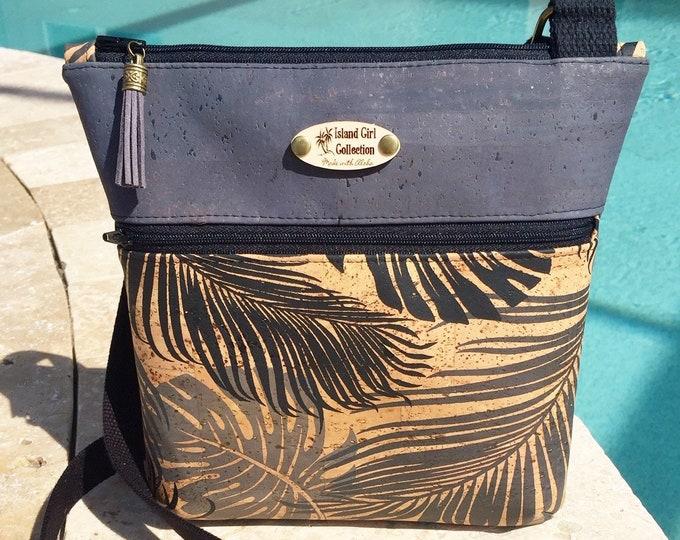 Cork Cross Body Bag, Double Zipper Cross Body Bag,  Tropical Bag, Travel Bag in Tropical Palm Leaf Cork Leather