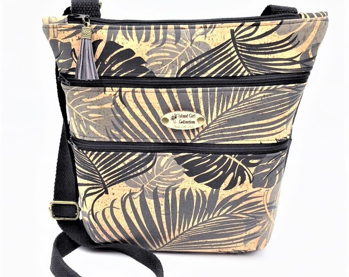 Featured listing image: Cork Cross Body Bag, Triple Zipper Cross Body Bag, Travel Bag, Shoulder Bag, Tropical Handbag in Tropical Leaf Print Cork Leather