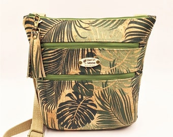 Cork Cross Body Bag, Triple Zipper Cross Body Bag, Travel Bag, Shoulder Bag, Tropical Handbag in Tropical Leaf Print Cork Leather