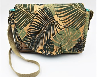 Cork Cross Body, Cross Body Bag, Saddlebag Cross Body, Handbag, Travel Bag, Small Shoulder Bag in Tropical Palm Leaf Cork Leather