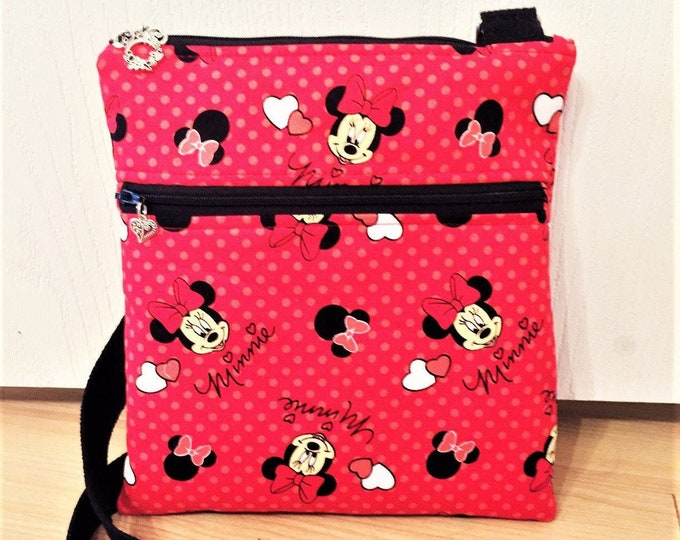 Featured listing image: Double Zipper Cross Body Bag,  Minnie Cross Body Bag, Travel Bag, Shoulder Bag in Minnie
