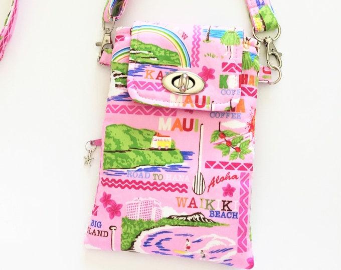 Cell Phone Bag, Crossbody Bag, Travel Bag, Cell Phone Wallet, Waist Bag, Theme Park Bag in Hawaiian Islands Theme
