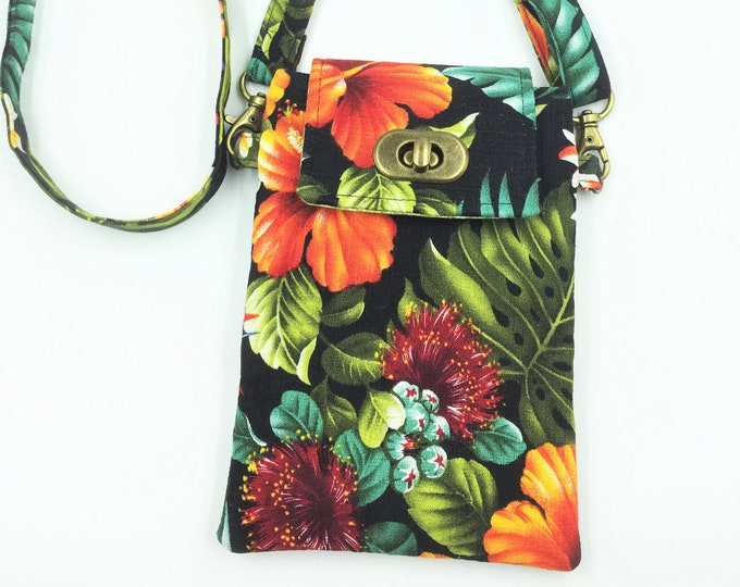 Cell Phone Bag, Crossbody Bag,  Hawaii Bag, Travel Bag, Cell Phone Wallet, Waist Bag in Hawaiian Florals
