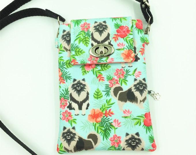 Keeshond Cell Phone Bag, Crossbody Bag, Travel Bag, Cell Phone Wallet, Waist Bag, Theme Park Bag in Keeshond Fabric