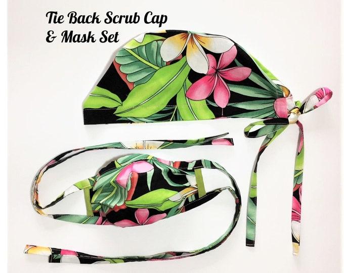 Scrub Cap & Face Mask Set, Tropical Scrub Set, Surgical Cap, Protective Mask, Chemo Cap, Medical PPE in Pink/White Plumeria