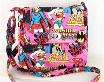 Small Crossbody Bag, Mini Purse, Girl Power Bag, Super Hero Purse, DC Comics Bag in Wonder Woman, Bat Girl & Super Girl Fabric