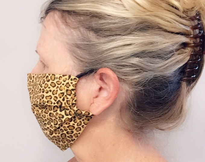 Face Mask, Pleated Mask, Reusable Mask, Travel Mask, Face Covering, Cheetah Mask - Ready to Ship